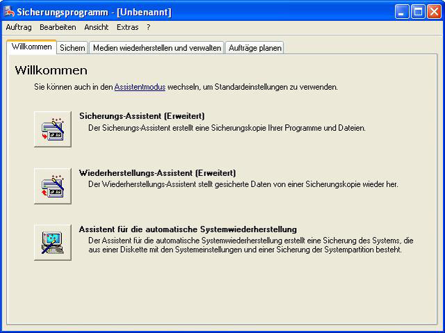 Windows Sicherungsassistent