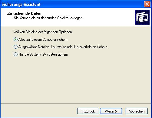 Windows Sicherungsassistent 2