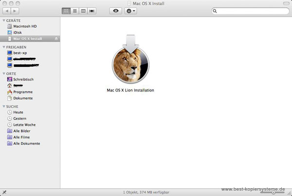 Mac OSX Lion Installation auswaehlen