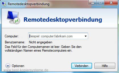 Remote Desktop Optionen