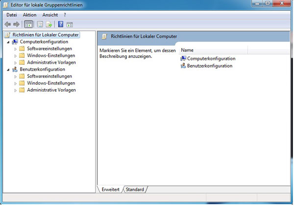 Windows 7 Editor lokale Gruppenrichtlinien