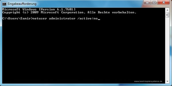 Windows 7 Administrator Active No