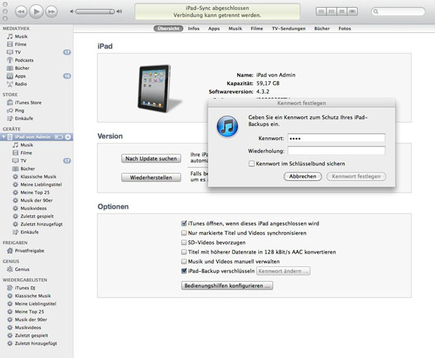 itunes backup verschluesseln
